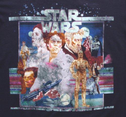 Mighty Fine Star Wars Vintage Poster Art T-Shirt Indigo 2