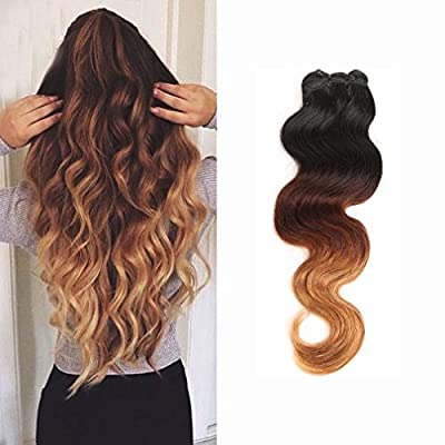 14-24inch 100% Unprocessed Virgin Brazilian Hair Extensions Grade 7A Quality Weave Weft Thick Ombre Colour (#1b Natural Black+#33 Light Auburn+ #27 Honey Blonde)