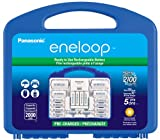 "Panasonic K-KJ17MC124A eneloop Super Power Pack, NEW 2100 Cycle, 12AA, 4AAA, 2 ""C"" Spacers, 2 ""D"" Spacers, ""Advanced"" Individual Battery Charger"