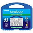 """Panasonic K-KJ17MC124A eneloop Super Power Pack, NEW 2100 Cycle, 12AA, 4AAA, 2 """"C"""" Spacers, 2 """"D"""" Spacers, """"Advanced"""" Individual Battery Charger"""