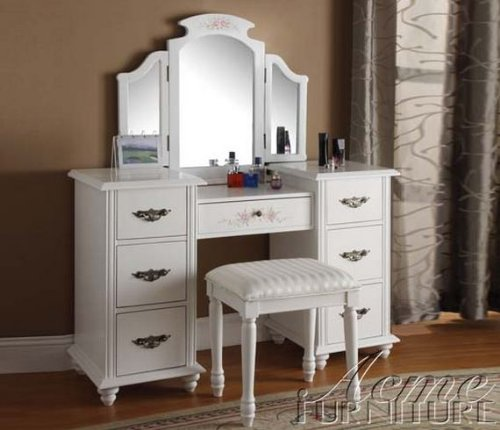 White Vanity With Mirror front-33004