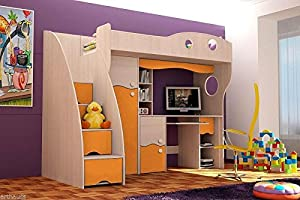 Brand New Kids Children Bedroom Cabin Bunk Bed DREAM with stairs and computer desk in Ash/Orange sold by Arthauss