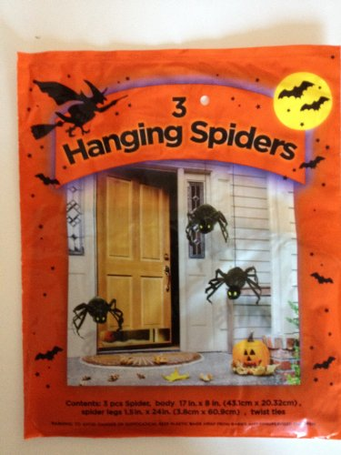 Set of 3 Hanging Spiders 17 in. x 8 in. Halloween Decorations - 1