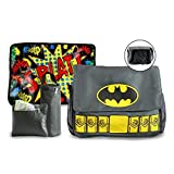 Batman Diaper Bag and Changing Pad with Detachable Bottle Pouch and Burp Cloth - Multiple Pockets, Shoulder Strap, Flap Over Closure - Waterproof, Nylon, Gray - by DC Comics (Color: Batman, Tamaño: • Dimensions: 1.8