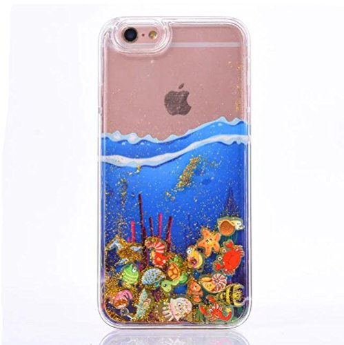 Iphone 6 plus/6s plus Funny Case,Jesiya Cute Sea Fish Quicksand Moving Floating Sparkle Powder Hard Liquid Glitter Case Glow In The dark Shell Cover For Iphone 6 plus/6s plus 5.5