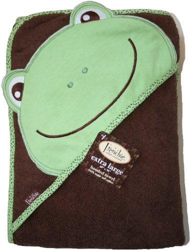 "Extra Large 40""x30"" Absorbent Hooded Towel, Frog, Frenchie Mini Couture"