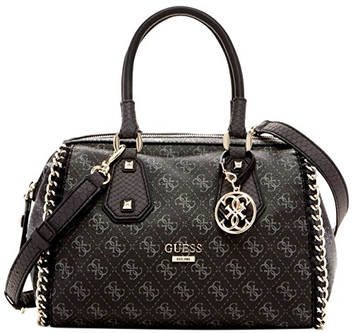 GUESS Confidential Chain Frame Satchel (Black / Gray) guess guess flsup3 sup12 black