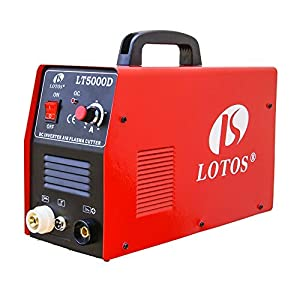 Lotos LT5000D Plasma Cutter 50Amps Dual Voltage Compact Metal Cutter 110/220V AC 1/2 Clean Cut by Lotos Technology by Lotos Technology