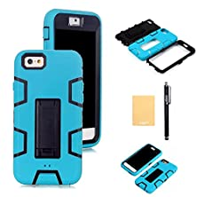 "buy Xiqi(Tm) Armor Defender Case Robot Design With Stand For Iphone 6(4.7""),With Screen Protector,Free Stylus,Cleaning Cloth Zjjqr Teal Black"
