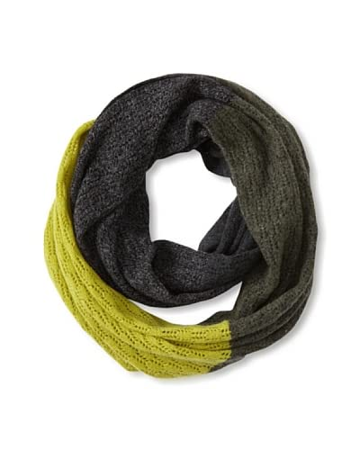 Qi Cashmere Women's Hannah Colorblocked Cashmere Snood  [Army Green Combo]