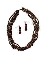 Villcart Golden Bead with Layered Style Jewellery Set in Golden Coloured Fabric for Women
