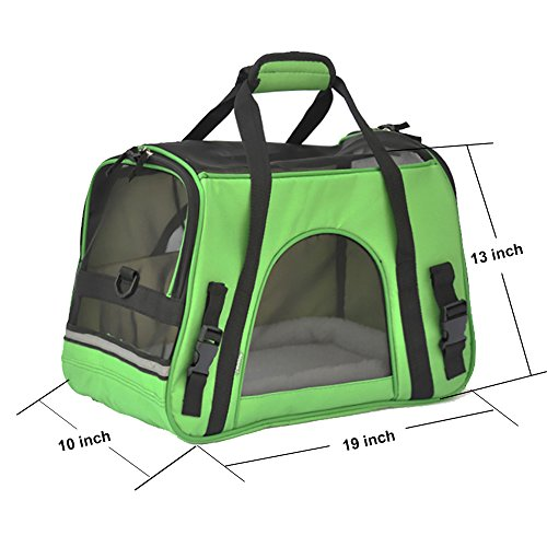 Pet Carrier, PYRUS Soft-Sided Kennel Cab Folding Soft Dog Crate Pet Travel Carrier Bag for Dogs Cats and Puppies ( Green )