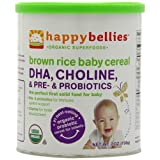 Happy Bellies Organic Baby Cereals with DHA Plus Pre and Probiotics, Brown Rice, 7-Ounce Canisters (Pack of 6) ~ HAPPYBABY