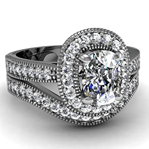 1 Ct Cushion Cut Halo Diamond Engagement Wedding Rings Set W Milgrain VS2-H GIA
