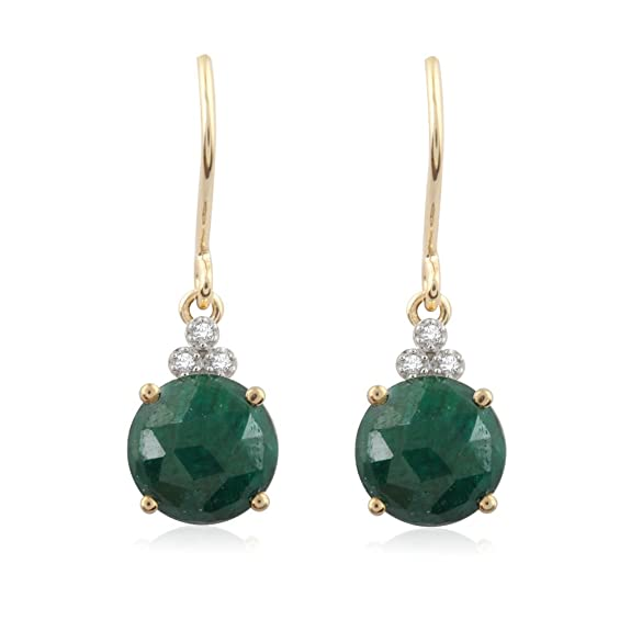 Pavé Privé 18ct Yellow Gold with White Diamonds & Green Corundum Drop Earrings