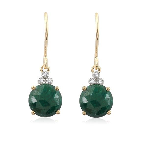 Pavé Privé 18ct Yellow Gold with White Diamonds & Green Corundum Drop Earrings