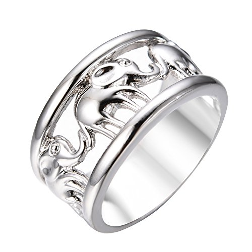 Rongxing Jewelry Band Animal Elephant Ring Size 7 Silver Women's White Gold Engagement (Elephant Rings For Women compare prices)