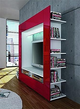 Parete soggiorno libreria porta tv King in quattro colori. Dimensioni cm. 185 x 162