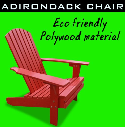 New Eco-Friendly Deluxe Patio Polywood Fanback Poly Wood Adirondack Chair Red