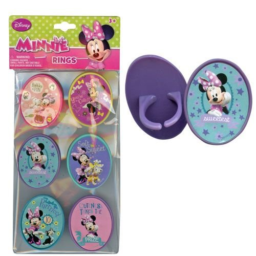 Disney Minnie 6pk Cupcake Topper Rings with Sticker on Plastic Insert