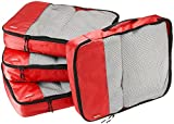 AmazonBasics 4-Piece Packing Cube Set - Large, Red