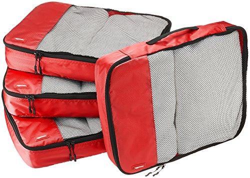 AmazonBasics Lot de 4sacoches de rangement pour bagage TailleL, Rouge