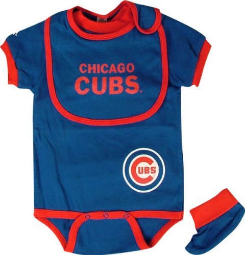 Chicago Cubs Baby Bib and Bootie Creeper Set