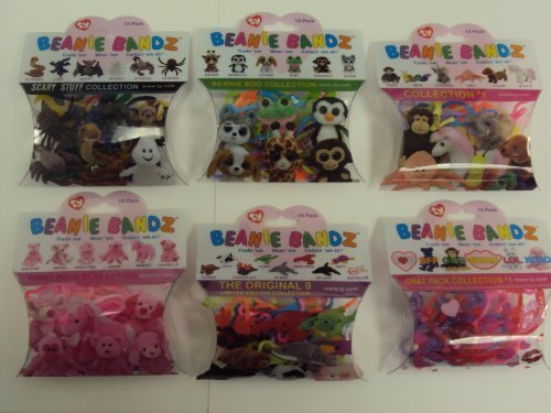 Ty Beanie Bandz Scary Stuff Beanie Boo Collection 1 Pinky Pack Original 9 Chat Pack Rubber Silly Bands 6 Pack Set