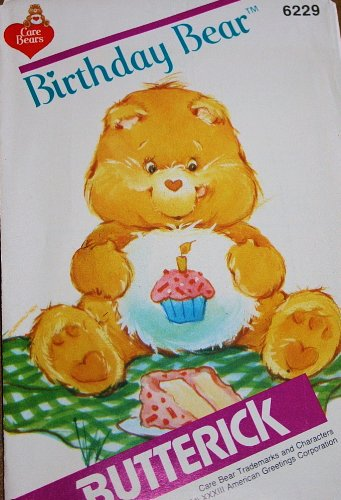 Care Bear Birthday Bear Sewing Pattern Butterick 6229 Vintage 1983 Suffed Bear front-365874