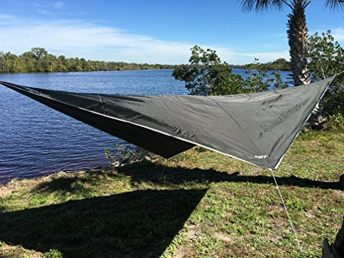 Krazy Outdoors® Night Guardian Hammock Rain Fly - 70D Oxford Nylon - RipStop Quality - Strong Ropes and Pegs With Carrying Pouch - (Dark Green) (Rain Flies For Backpacks compare prices)