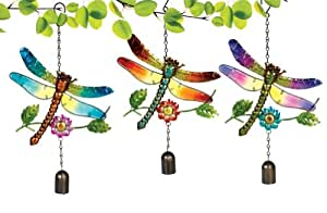 Grasslands Road Glass Dragonfly Bell Chime, 12-Inch, Assorted, 3-Pack