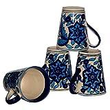 Inhomez Blue Hand Painted Stoneware Coffee/Milk Mug- Set Of 4