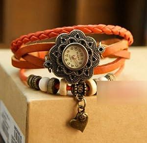 Towallmark 1PC Yellow Fashion Weave Heart Pendant Leather Bracelet Wrist Watch
