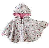 ange select リバーシブル フード 付き パーカー 男の子 女の子 キッズ ベビー ポンチョ 出産祝い プレゼント (ピンク×グレーS)