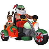 Gemmy 4.92-ft Inflatable Airblown Santa on Motorcycle with Incandescent White Lights
