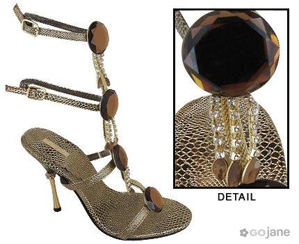 REPTILE PRINT RHINESTONE JEWEL HEEL (WILDROSE, Shoes)