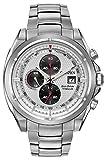 Citizen Watch Titanium Men's Quartz Watch with White Dial Chronograph Display and Silver Titanium Bracelet CA0550-87A
