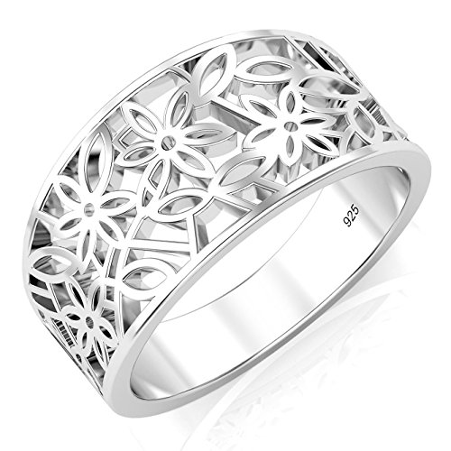 Sz 8 Sterling Silver 925 Victorian leaf Filigree Ring (Thumb Rings compare prices)