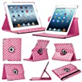 Stuff4 Polkadot Leather Smart Case with 360 Degree Rotating Swivel Action and Free Screen Protector/Stylus Touch Pen for Apple iPad Mini/Mini Retina - Deep Pink/White