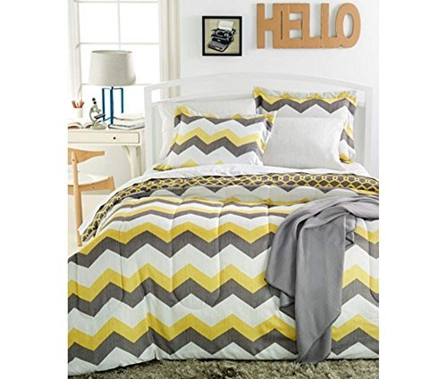 Best Price Sunham Chevron 6-Pc. Bedding Ensemble, Reversible, Twin, Yellow Grey