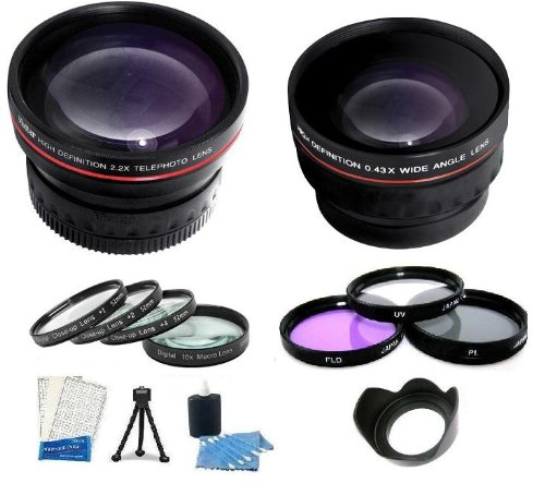 Lens Kit Includes 3Pc Multi Coated Filter Kit + Hd 2X Telephoto Lens + Hd .43X Wide Angle Lens + 4 Piece Close-Up Filter Set Includes +1 +2 +4 +10 + Lens Hood + Mini Tripod + Lcd Screen Protectors + Camera Cleaning Kit For The Panasonic Lumix Dmc-G10, Dmc