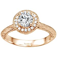 buy 10K Rose Gold Engraved Vintage Halo Engagement Ring With Forever Brilliant Moissanite By Charles Colvard (0.43 Ct. Twt.)