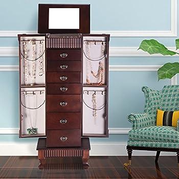Giantex Jewelry Cabinet Armoire Box Storage Chest Stand Organizer Necklace Wood
