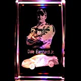 Dale Earnhardt Jr. 3D Laser Etched Crystal + Rotating Display Light Base with 7 Multi Color LED's