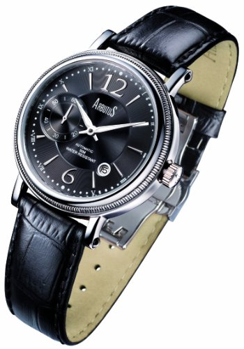 Arbutus Men's Automatic Watch with Black Dial Analogue Display and Black Leather Strap AR503SBB