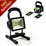 Vaincre 15W 24LED Outdoor Floodlight Camping Lights Portable LED Work Lights, Built-in Rechargeable Lithium Batteries with USB Ports to charge Mobile Devices and Special SOS Modes