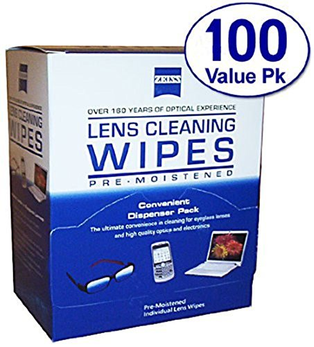Zeiss Lens Cleaning Wipes Pre-Moistened Wipes For Eyeglassess Camera Cellphone Screen Cleaning Wipes (Zeiss-100Ct)
