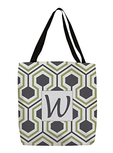 Thumbprintz Shopping Tote Bag, 16-Inch, Monogrammed Letter W, Grey Honeycomb front-430301
