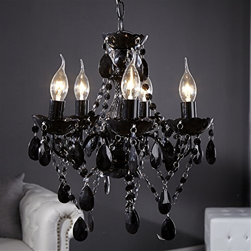 "DESIGN LAMPADARIO ""POMP"" | nero, acrilico, 5 lumi, Ø 40 cm | stile retrò"