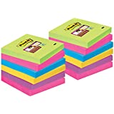 Post-it Super Sticky Removable Notes Pad 90 Sheets 76x76mm Ultra Assorted Ref 654-12SSUC [Pack of 12]